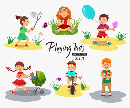 algodon de azucar: ? Os niños que juegan carácter aislado ilustración vectorial. Niña de la celebración de algodón de azúcar y helado. Niños? Artoon.