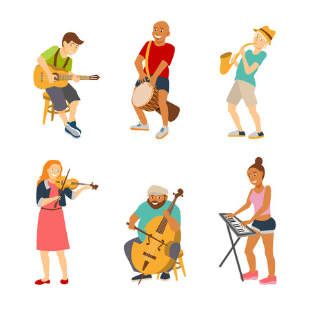 saxophonist: Musician cartoon characters isolated on white background. Vector musicians people icons flat style. Drummer, guitarist, violinist, bassist, keyboardist and saxophonist street musicians. Illustration