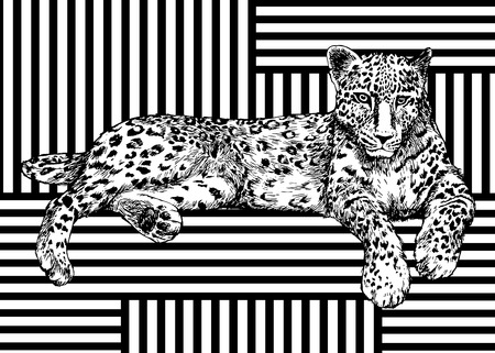 Trendy summer pattern with leopard. Geometric striped ornament tropical animals. Vector tropic predator background. 일러스트