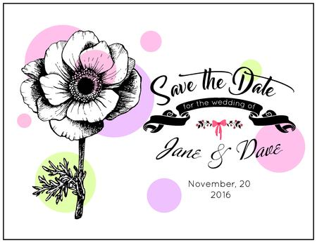 nuptial: Save the date invitation template vector. Wedding invitation card with anemone flower.