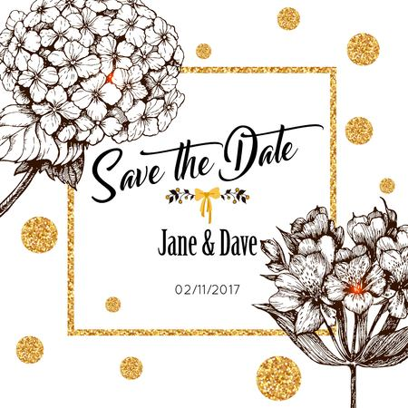 Enregistrez le modèle de carte de date pour l'anniversaire de mariage. Vector illustration.