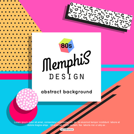 Trendy memphis cards design. 1980s background template.