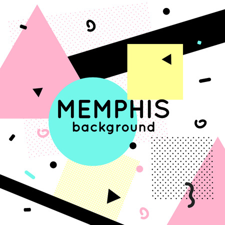 memphis: Trendy memphis cards design. 1980s background template.