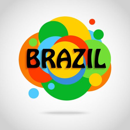 saturated color: Brazil travel background for tourist banner, poster, flyer, brochure.