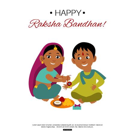Brother and sister celebrating Raksha Bandhan tying rakhi. Indian traditional holiday background.