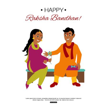Broer en zus vieren Raksha Bandhan koppelverkoop Rakhi. Indiase traditionele vakantie achtergrond.