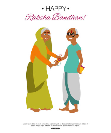 bhai: Brother and sister celebrating Raksha Bandhan tying rakhi. Indian traditional holiday background.