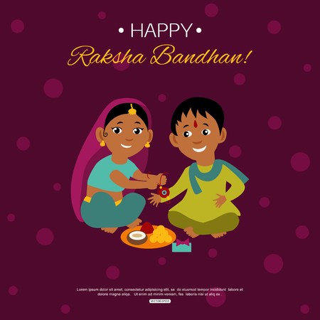 auspicious: Little happy brother and sister celebrating Raksha Bandhan tying rakhi. Indian traditional holiday background.