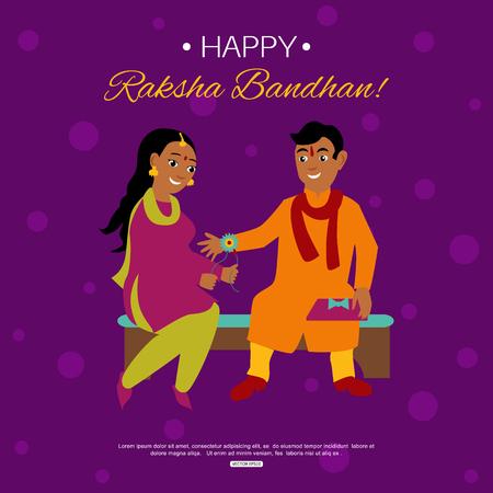 bhai: Young happy brother and sister celebrating Raksha Bandhan tying rakhi. Indian traditional holiday background. Illustration