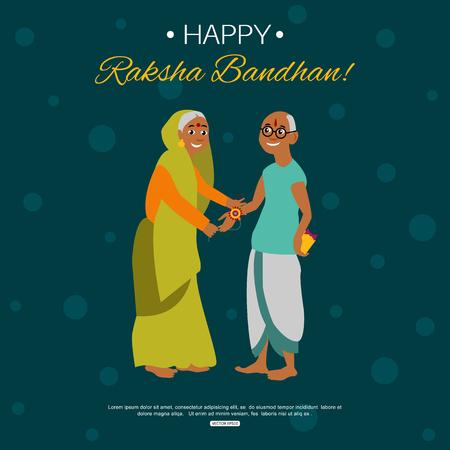 bhai: Old happy brother and sister celebrating Raksha Bandhan tying rakhi. Indian traditional holiday background.