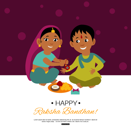 Raksha Bandhan Indian traditional holiday poster. Illustration