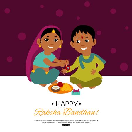 raksha: Raksha Bandhan Indian traditional holiday poster. Illustration