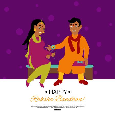 raksha: Raksha Bandhan Indian traditional holiday poster. Vector eps 10 format. Illustration