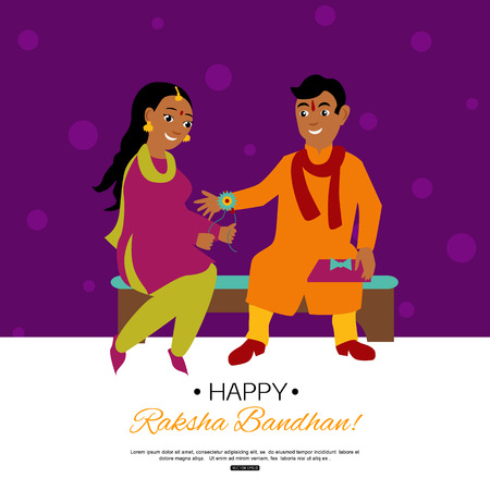 Raksha Bandhan Indian traditional holiday poster. Vector eps 10 format. Illustration