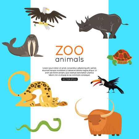 zoo animals: Zoo animals banner for advertising, online tour.