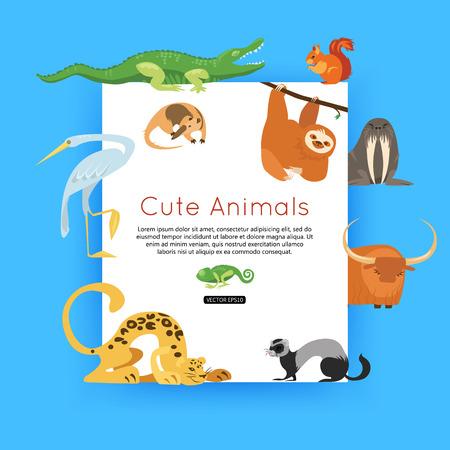 oso perezoso: fondo de la fauna silvestre. Zoológico de animales banner para publicidad, viaje en línea. Vectores