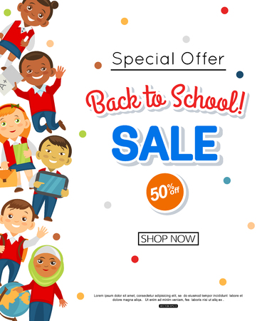 youngsters: Back to school sale banner.