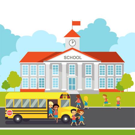 School building schoolchild get off the bus. Education Background.
