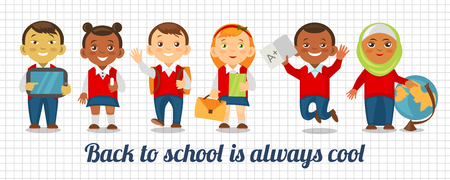 indian student: Back to school is always cool. Education Background. Illustration