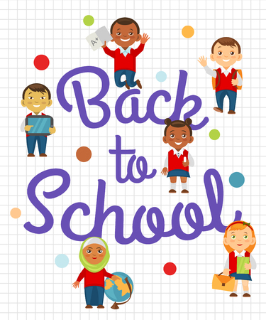Back to school background with cheerful student.