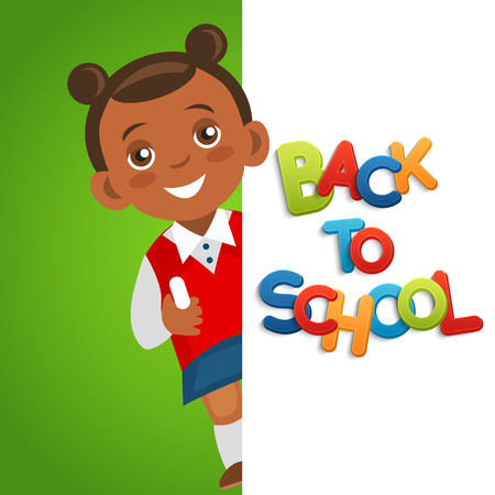 Joyful school girl with chalk