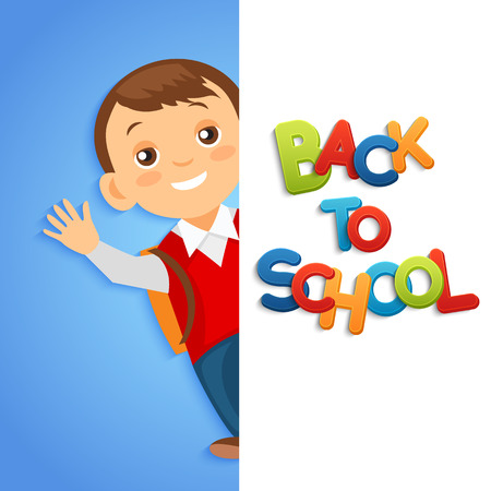 young schoolchild: Back to school background with school boy
