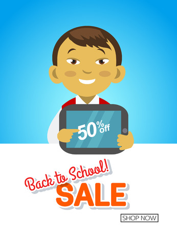 young schoolchild: Back to school sale banner with asian school boy Illustration