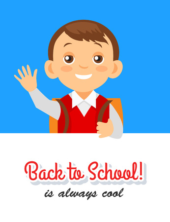 Back to school background with cheerful pupil Illustration