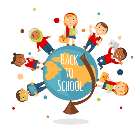 indian student: School concept for online learning, education, training. Back to school background with multinational schoolchild.