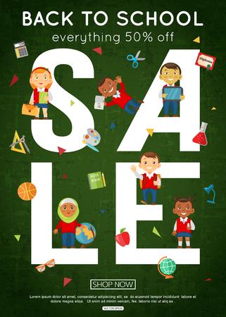 Back to school vertical sale banner Illustration