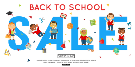 back to back: Back to school horizontal sale banner