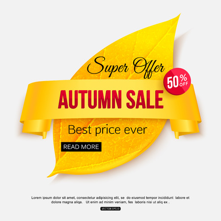 Autumn sale banner isolated on white background for shop, online store, supermarket, fair, boutique.