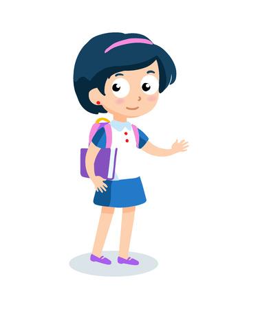 cartoon school girl: Portrait of teenager girl with school backpack. School girl vector cartoon character.