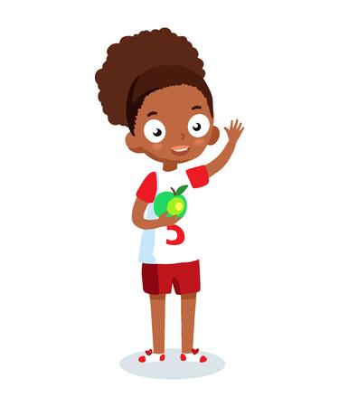 cartoon school girl: African American school girl vector cartoon character. Cheerful girl in sportswear.