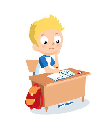 desk: Schoolboy sitting at school desk. Pupil vector cartoon character.