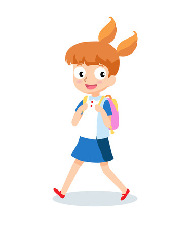 school girl: School girl goes to school with backpack cartoon character isolated on white background.
