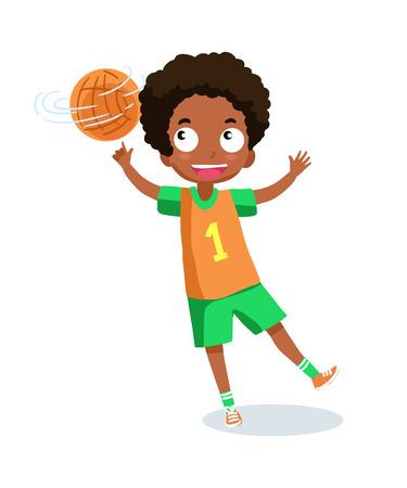 boy basketball: School boy playing basketball Illustration