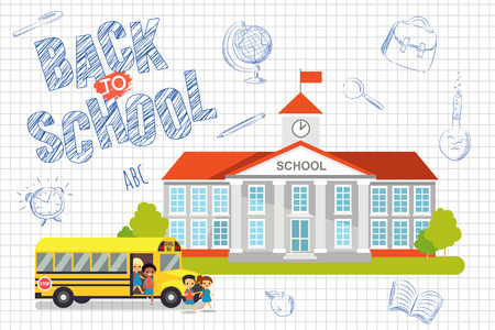 school kids: Back to school background with kids Illustration