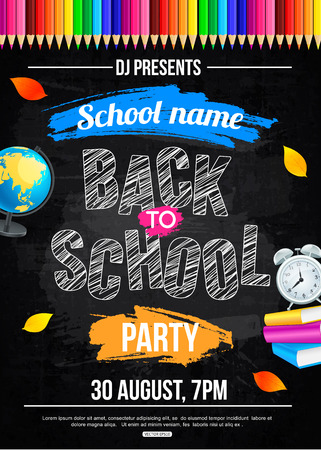 Back to school Party Plakat Vorlage Standard-Bild - 61411854