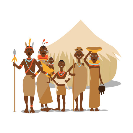 traditional clothing: Happy african family mother, father, children and grandparents in traditional clothing. African people cartoon vector illustration. Illustration