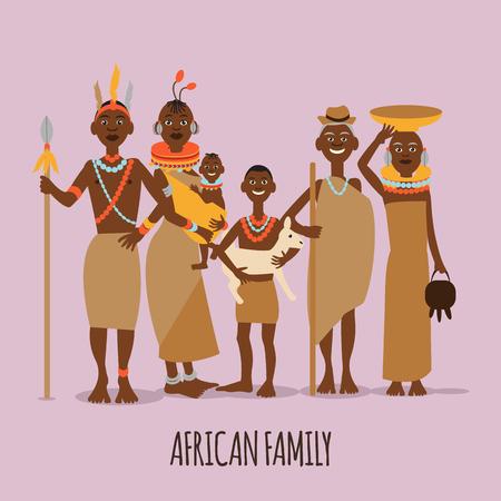 Glückliche afrikanische Familie Mutter, Vater, Kinder und Großeltern in der traditionellen Kleidung. Vektorgrafik