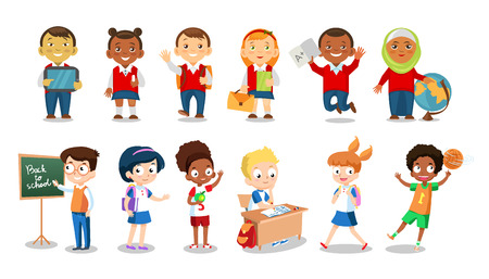 school boys: Set of cheerful school children flat icons isolated on white background. School boys and girls cartoon vector illustration. Group of students Illustration