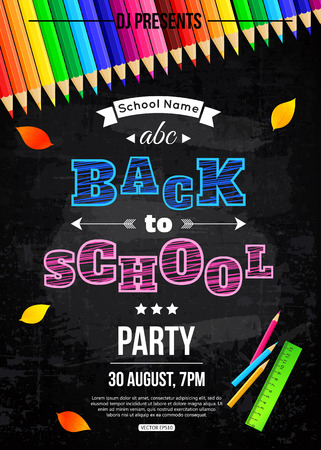Terug naar school party poster template Stock Illustratie