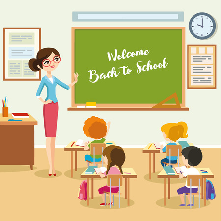 School lesson, students listen teacher in the classroom, children sit at a desk and look at the chalkboard.