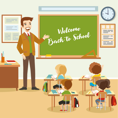 pupils: Male teacher with pupils in the classroom. Educational process, school lesson. Vector eps 10 format.