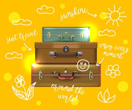 handle: Suitcase travel background. Illustration