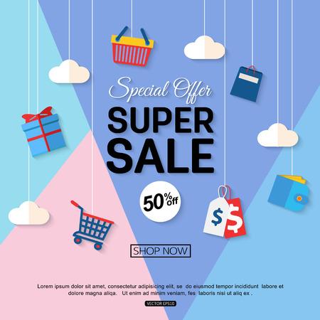 Sale Rabatt Hintergrund für den Online-Shop, Shop, Werbebroschüre, Förderung, Poster, Banner. Vektor-Eps-10-Format. Standard-Bild - 61622828