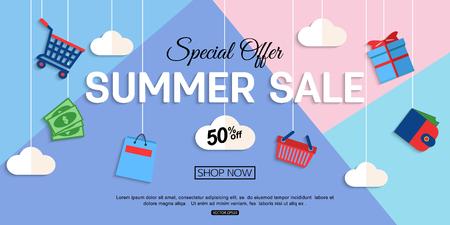 Fondo de la venta de descuento para la tienda en línea, tienda, folleto promocional, promoción, cartel, pancarta. Eps 10 de formato. Ilustración de vector