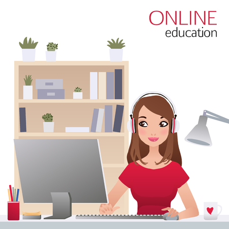 woman laptop: Beautiful smiling woman online education. Vector e-learning concept with young girl Illustration