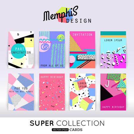 メンフィス カード テンプレートのセットです。抽象的な幾何学的図形、メンフィスのデザインのスタイルのパターンです。  イラスト・ベクター素材